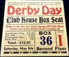 1937 Kentucky Derby Clubhouse Box Seat Ticket Stub