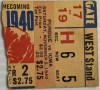 1940 NCAAF Iowa Hawkeyes ticket stub vs Purdue