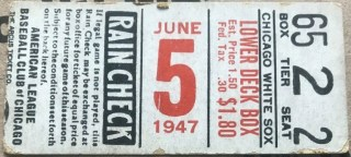 1947 White Sox ticket stub vs Phillies No Gambling Allowed