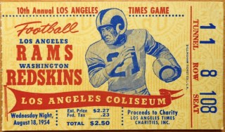 1954 LA Times Annual Charity Game Ticket stub Rams Redskins 21