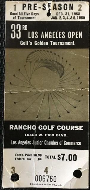 1959 Golf 33rd Los Angeles Open ticket stub
