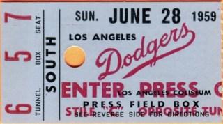 1959 Los Angeles Dodgers ticket stub vs Pirates 22.50