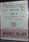 1962 World Cup Soccer ticket stub Italy vs Switzerland