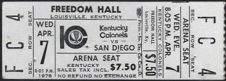 1976 ABA Kentucky Colonels ticket vs Nuggets