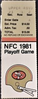1982 NFC Divisional Game ticket stub 49ers vs Giants