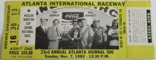 1982 Atlanta Journal 500 Ticket Stub Bobby Allison