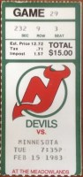 1983 New Jersey Devils ticket stub vs North Stars