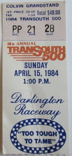1984 Transouth 500 ticket stub Darlington 23