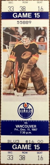 1987 Edmonton Oilers ticket stub vs Canucks