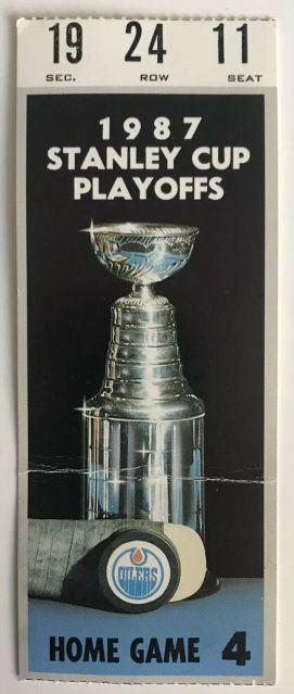 1987 Playoffs Round 2 Game 1 ticket stub Edmonton Oilers vs Winnipeg Jets ticket stub 7.53