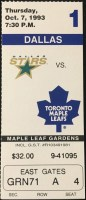 1993 Toronto Maple Leafs ticket stub vs Stars