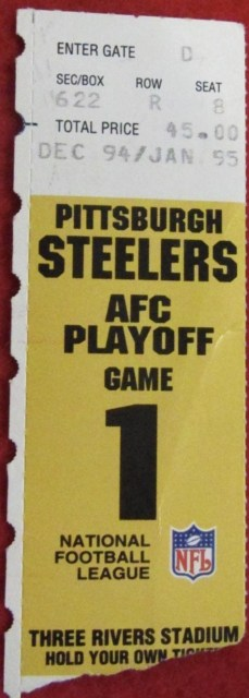 1995 AFC Divisional Game ticket stub Steelers vs Browns 9
