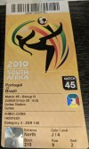 2010 FIFA World Cup ticket stub Portugal vs Brazil