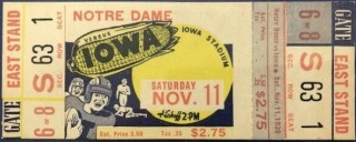 1939 NCAAF Iowa Hawkeyes unused ticket vs Notre Dame
