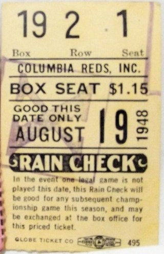 1948 MILB Columbia Reds ticket stub