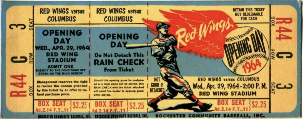 1964 Rochester Red Wings Opening Day ticket stub