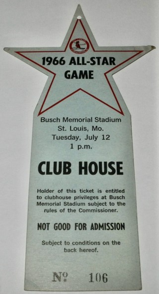1966 Baseball All Star Game St Louis Club House Pass