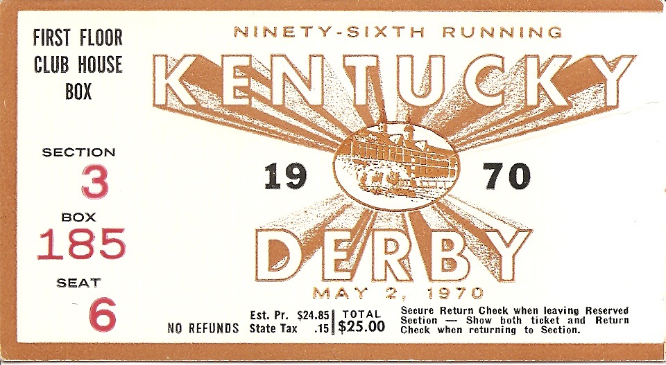 1970 Kentucky Derby Ticket Stub