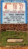 1972 NCAAF Indiana University Hoosiers ticket stub vs TCU