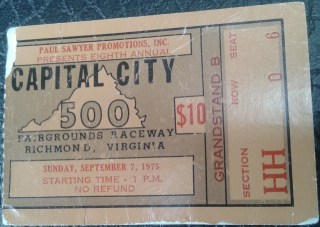 1975 Capital City 500 Ticket Stub Darrell Waltrip