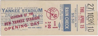 1976 New York Yankees Opening Day ticket stub 10