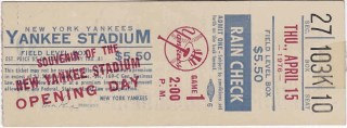 1976 New York Yankees Opening Day ticket stub vs Twins