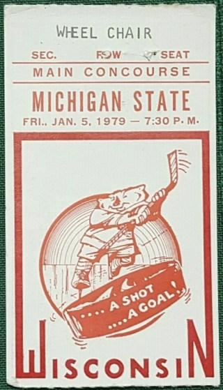 1979 NCAAMH Wisconsin Badgers ticket stub vs Michigan State 9