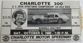 1980 Charlotte 300 Ticket Stub