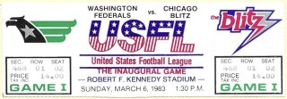 1983 USFL Washington Federals vs Chicago Inaugural Game unused ticket 15