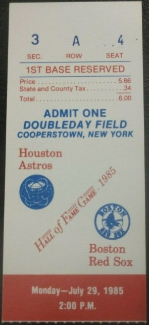 1985 Hall of Fame Game Ticket Astros vs Red Sox 35