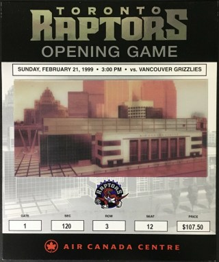 1999 Toronto Raptors ticket stub vs Vancouver 50 2