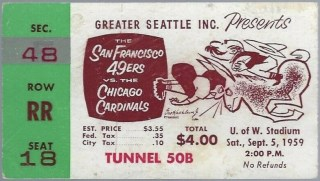 1959 49ers vs Cardinals ticket stub in Seattle 29