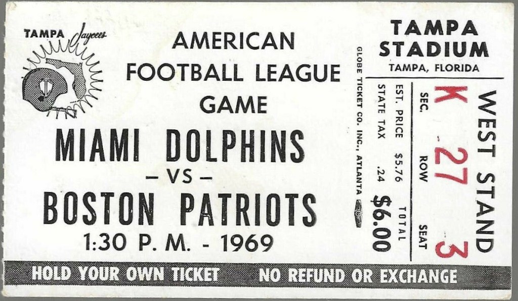 1969 Miami Dolphins ticket stub vs Patriots