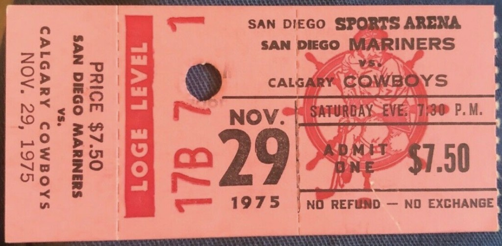 1975 WHA San Diego Mariners Ticket Stub vs Cowboys