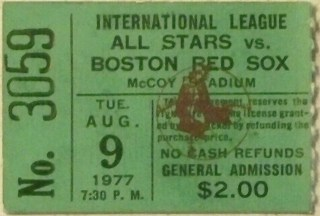 1977 Boston Red Sox ticket stub vs Intl League All Stars 27.76
