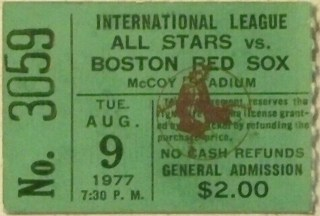 1977 Boston Red Sox ticket stub vs International League All Stars