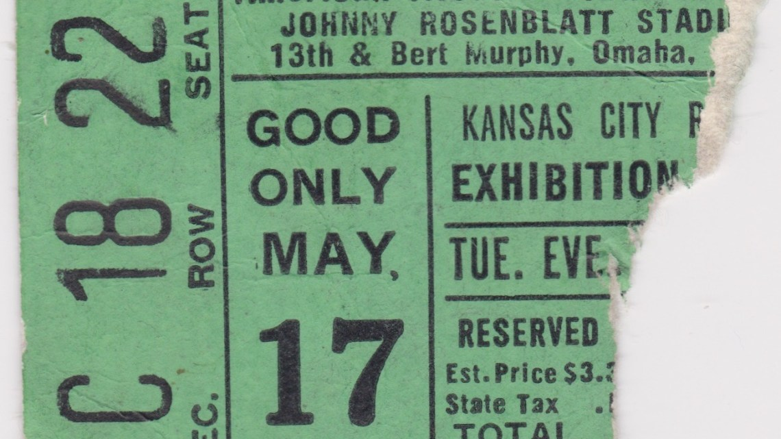 1977 Omaha Royals ticket stub vs Kansas City
