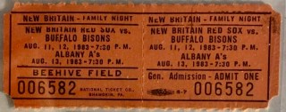 1983 New Britain Red Sox ticket stub vs Albany