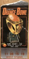 1988 Orange Bowl National Championship Ticket Stub Miami vs Oklahoma
