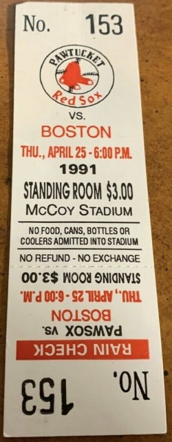 1991 Pawtucket Red Sox ticket stub vs Boston