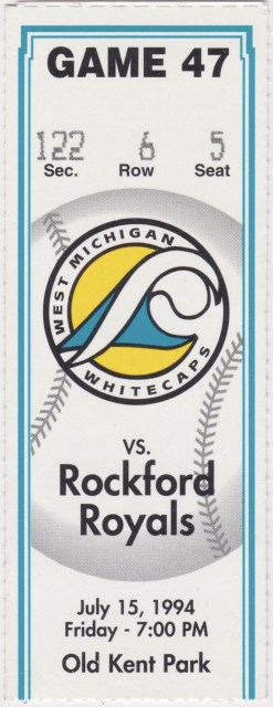 1994 West Michigan Whitecaps ticket stub vs Rockford