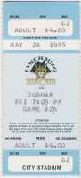 1995 Lynchburg Hillcats ticket stub vs Durham