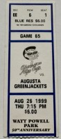 1999 Charleston Alley Cats ticket stub vs Augusta