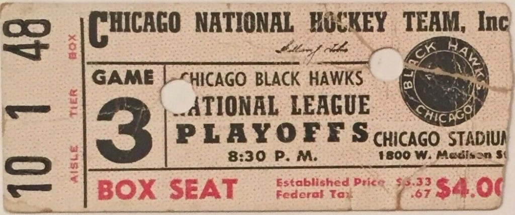 1940s Chicago Blackhawks Playoff ticket stub