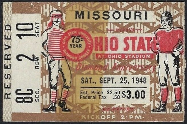 1948 NCAAF Ohio State ticket stub vs Missouri