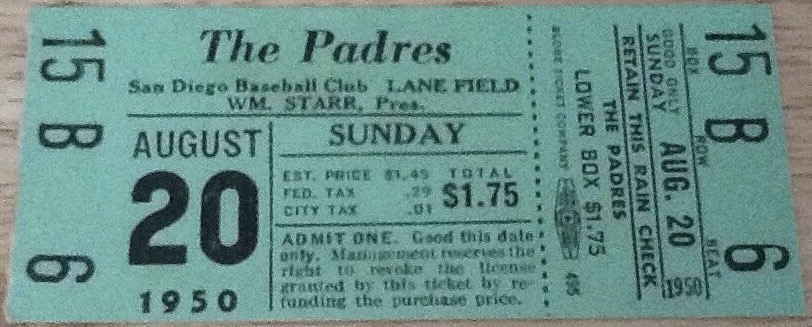 1950 San Diego Padres unused ticket Lane Field