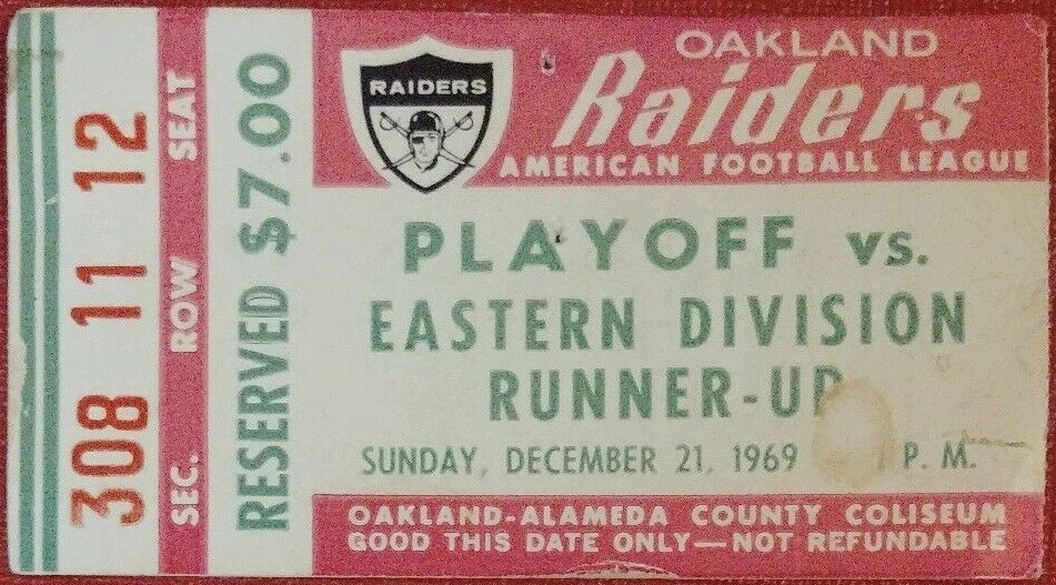 1969 AFC Playoffs ticket stub Raiders vs Oilers