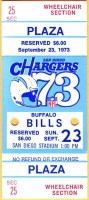 1973 San Diego Chargers ticket stub vs Buffalo