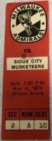 1973 USHL Milwaukee Admirals ticket stub vs Sioux City