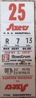 1975 Philadelphia 76ers ticket stub vs Rockets